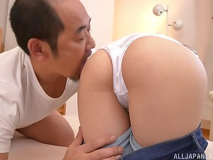 Long haired Japanese Maizono Niko rides her boyfriend at home